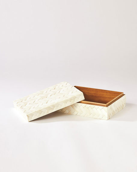 White Bone Braided Box - Small