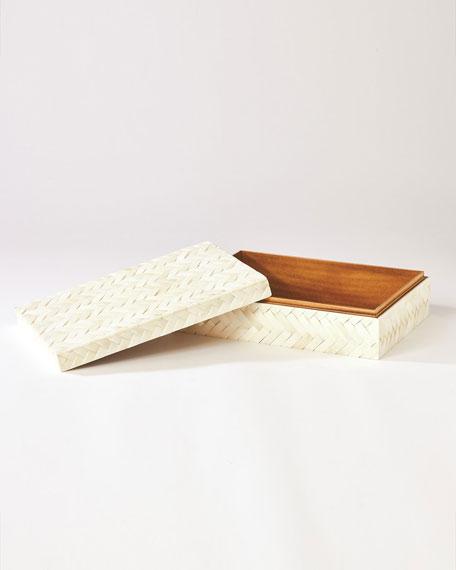 White Bone Braided Box - Large