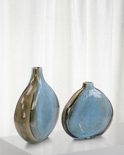 Aqua and Earth Glass Vases  Set of 2