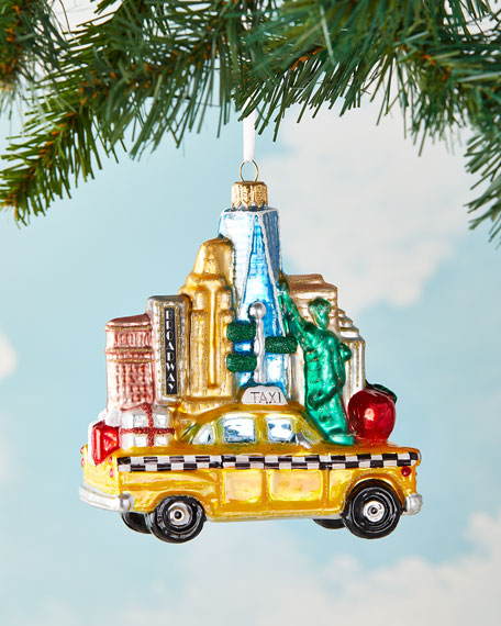 NYC Taxi With Buildings Christmas Ornament