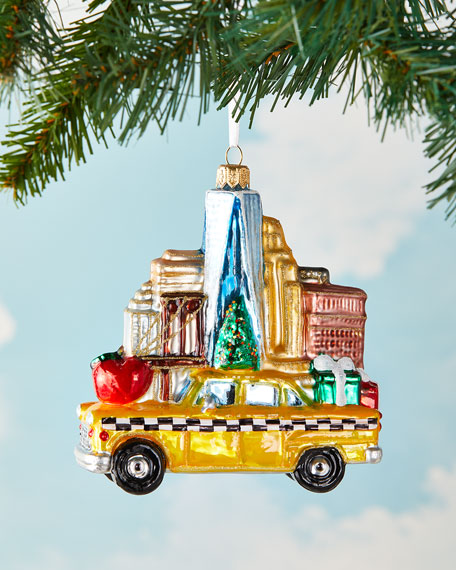 Exclusive NYC Taxi With Buildings Christmas Ornament