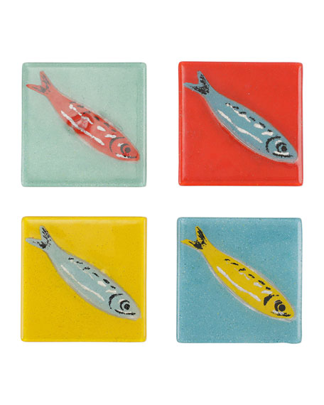 Pesci Colorati Assorted Fish Coasters, Set of 4