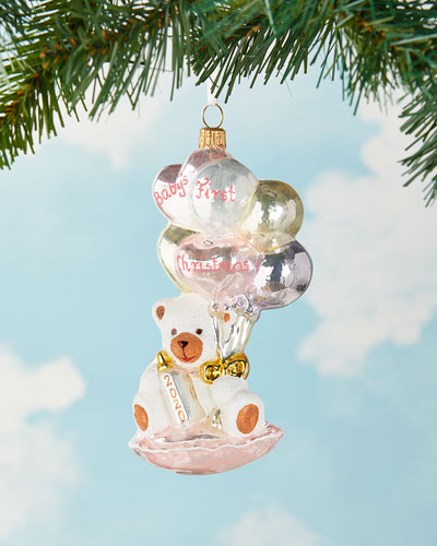 Baby's First Christmas Bear with Balloon Ornament