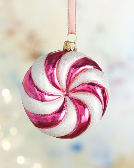 Pink Peppermint Christmas Ornament