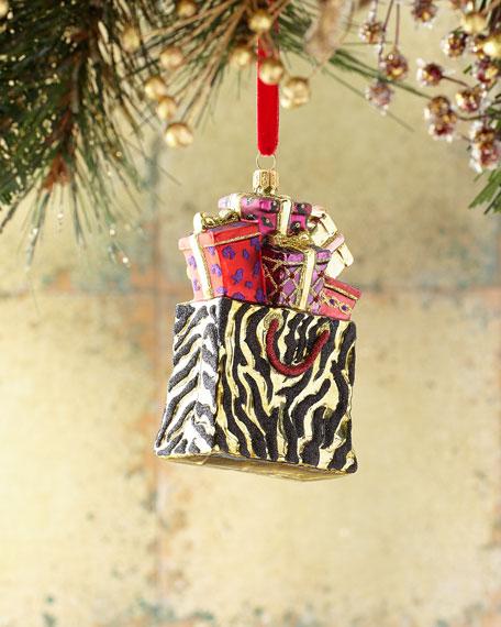 Glassware Art Studio Animal-Print Shopping Bag Christmas Ornament