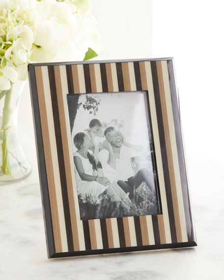 """Striped Inlaid Wood Picture Frame, 5"""" x 7"""""""