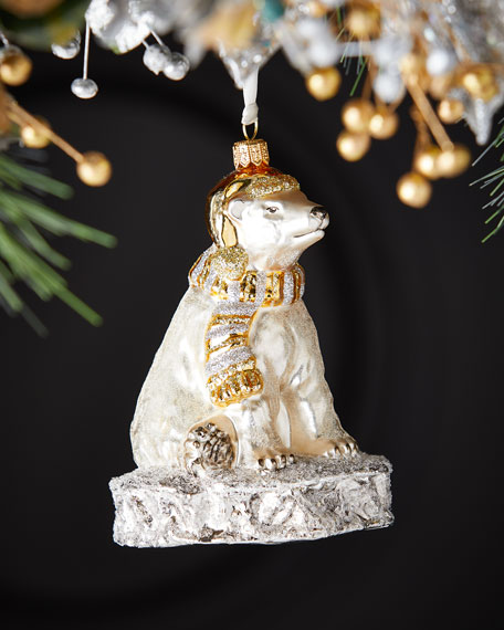 Glassware Art Studio Polar Bear On Ice Christmas