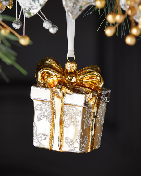 Exclusive Silver & Gold Present Christmas Ornament