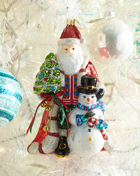Exclusive John Huras Santa And Snowman Christmas Ornament