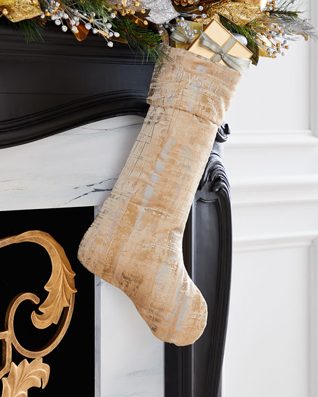 Gold & Silver Stocking with Cuff, Personalized