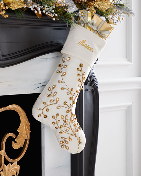 Exclusive Gold Vine Stocking (Plain Cuff), Personalized