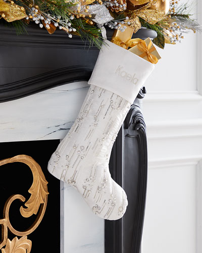 Silver & White Embellished Stocking  Personalized