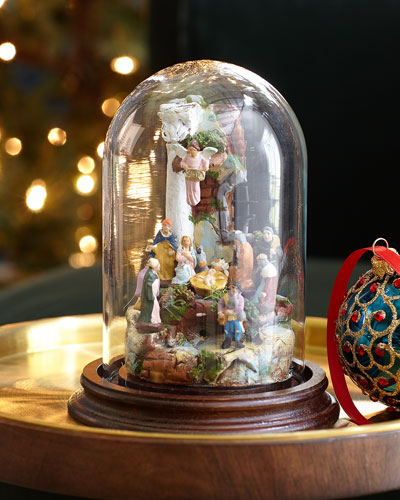 Small Nativity With Glass Dome