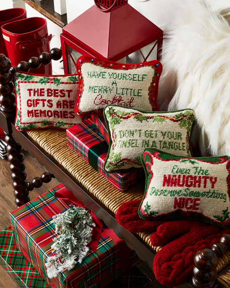 Don't Get Your Tinsel In A Tangle Needlepoint Pillow