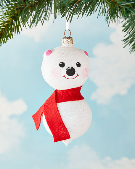 Exclusive Glittered Bear Christmas Ornament