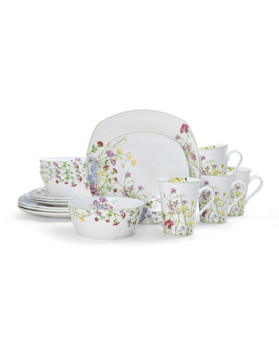 Wildflower Garden Square 16-Piece Dinnerware Set