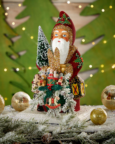 Red Beaded Santa with Holly Leaves