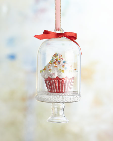 Cupcake In Dome Christmas Ornament