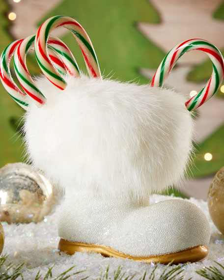 White Fur Santa Boot Collectible