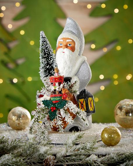 Silver Santa with Bag