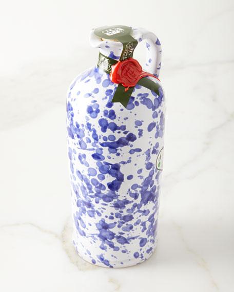 Extra Virgin Olive Oil in Ceramic Bottle, Cobalt Blue