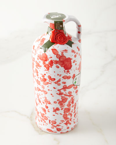 Extra Virgin Olive Oil in Ceramic Bottle  Red