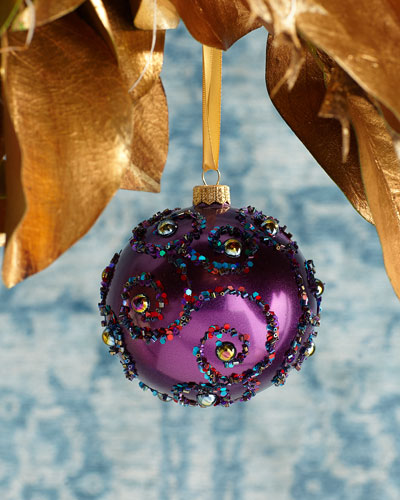 Sequin Swirls Ball Christmas Ornament