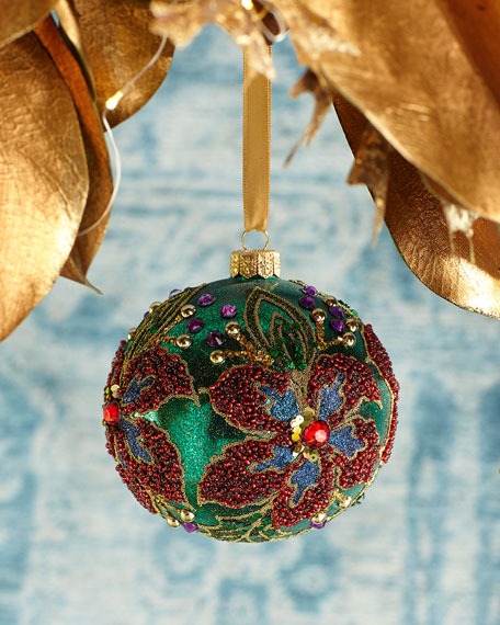 Floral Beaded Ball Christmas Ornament