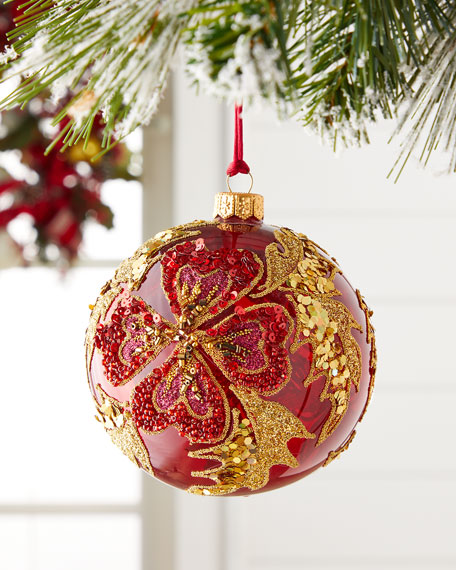 Silverado Red Ball With Beaded Flower Christmas Ornament