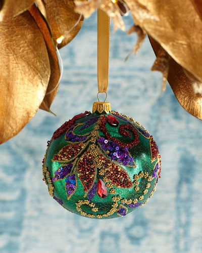 Leaves Beaded Ball Christmas Ornament
