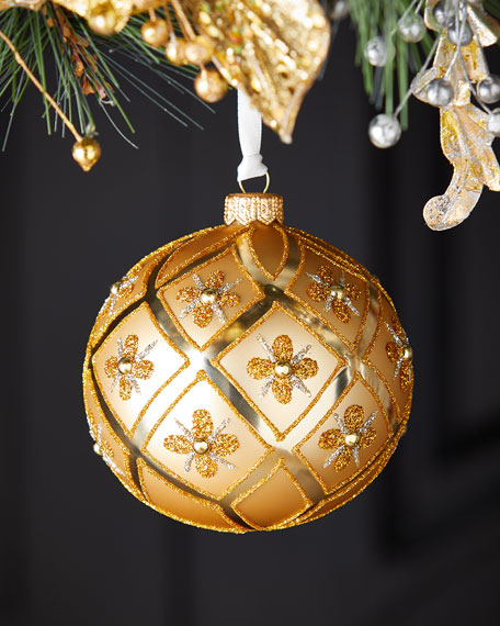 Gold Diamonds And Florals Christmas Ornament