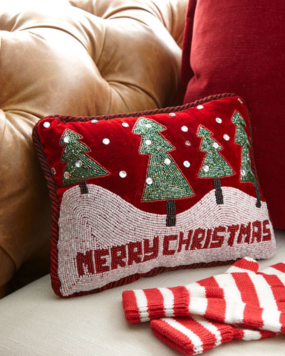 Merry Christmas with Trees & Snowy Hills Pillow
