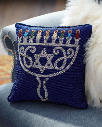 Beaded Menorah Pillow