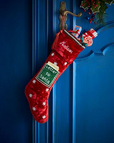 Letter to Santa Velvet Stocking  Personalized