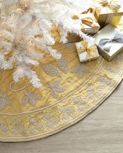 Silver Leaves on Gold Tree Skirt