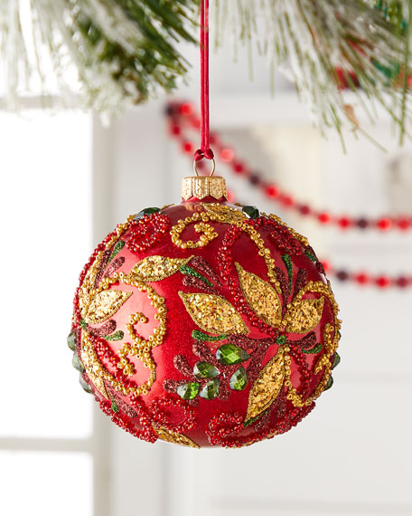 Red Ball With Beaded Leaves Christmas Ornament