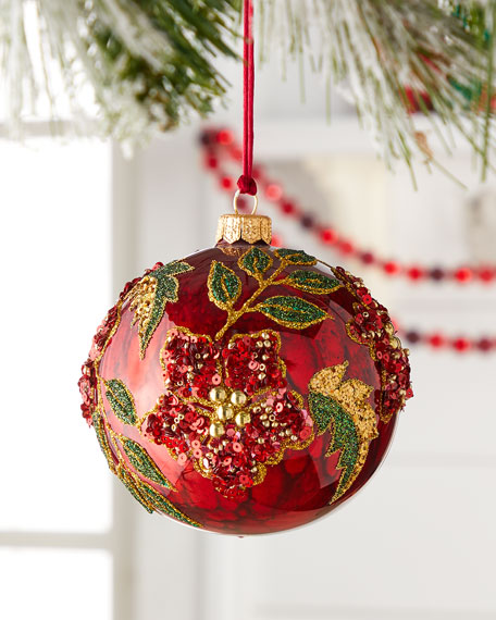 Red Ball With Sequin Flower Christmas Ornament