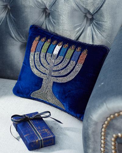 Velvet Beaded Menorah Pillow