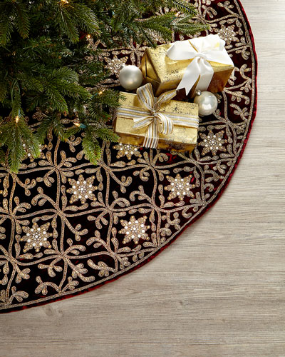 Hand-Embroidered Velvet Tree Skirt  Burgundy/Gold