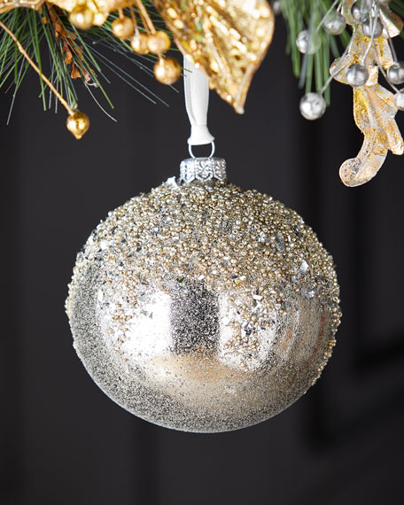 Silver Ball With Glitter Top Christmas Ornament