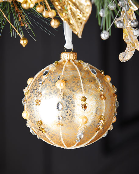 Gold Ball With Beaded Stripe Christmas Ornament