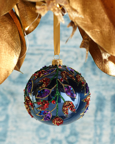Leaves Beaded Ball Christmas Ornament, Blue