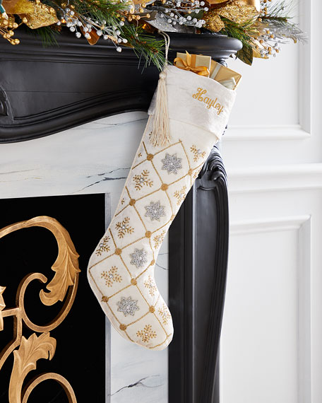 Silver & Gold Snowflake Grid Stocking, Personalized