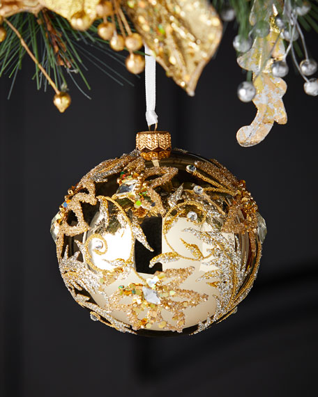 Shiny Gold Floral Ball Christmas Ornament