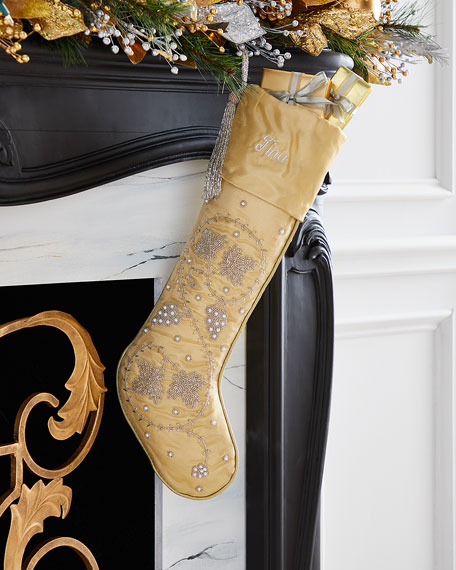 Silver Leaves on Gold Stocking, Personalized
