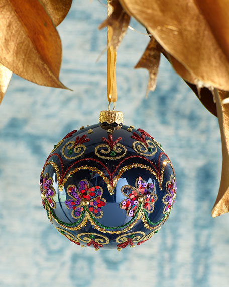Beaded Flower Blue Ball Christmas Ornament