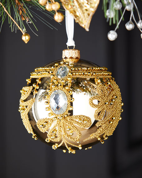 Shiny Gold Ball With Beads Christmas Ornament