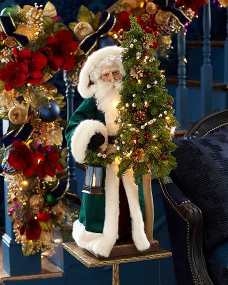 "Malachite Christmas White Santa, 29"""
