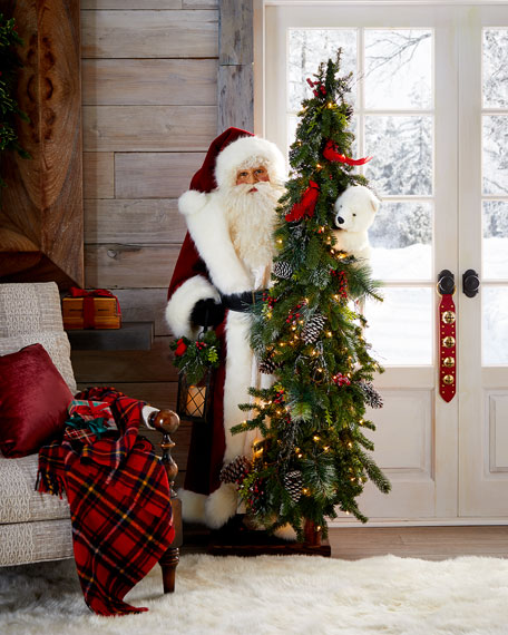 """Fireside Christmas White Santa with Lighted Tree, 57"""""""