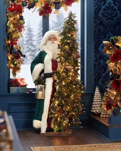 Malachite Christmas White Santa with Lighted Tree  57
